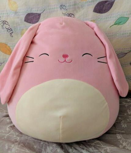 squishmallow bop the pink easter bunny pillow