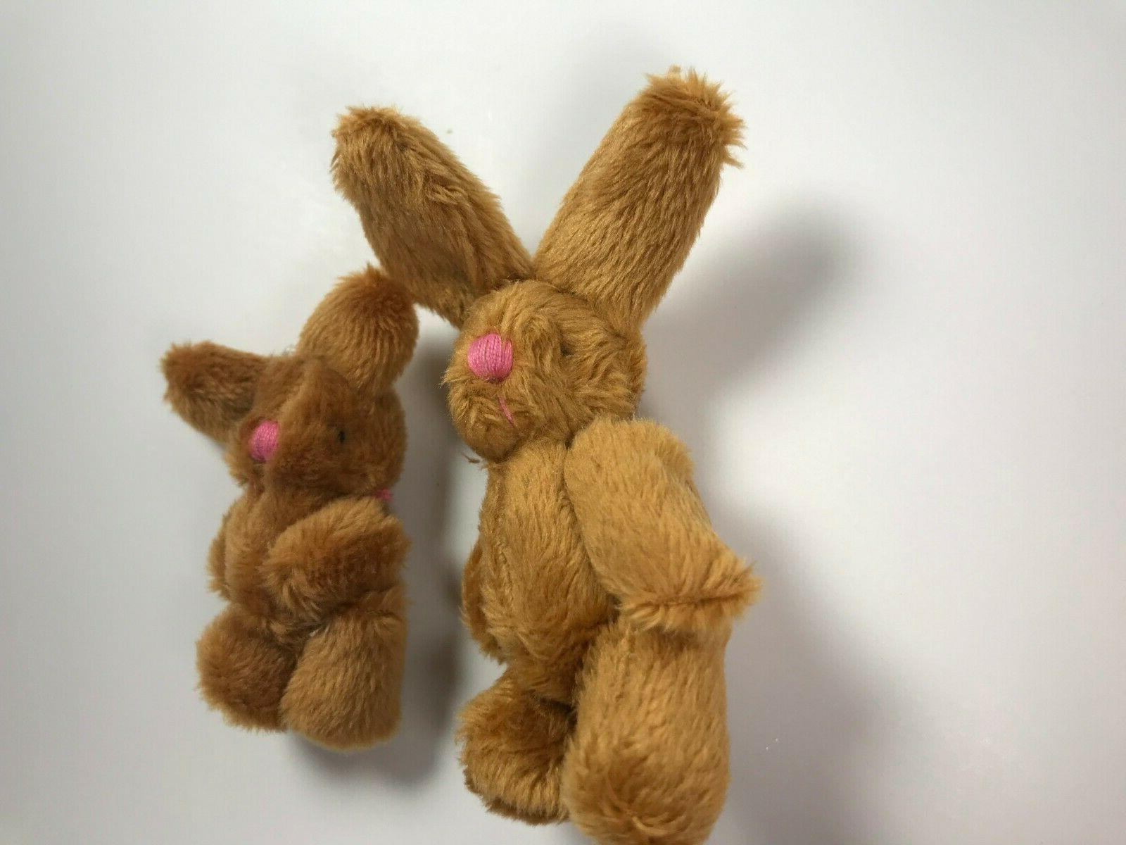 Two Bunny Rabbits Mini Plush Bunny Miniature