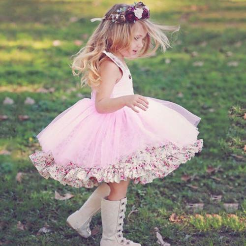 US Baby Girl Bunny Dress Floral Sundress