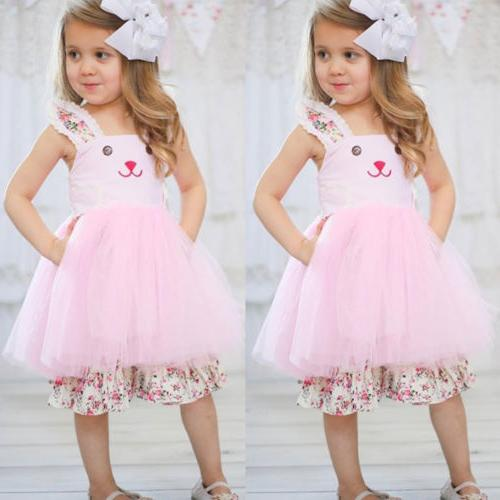 US Bunny Floral Outfit Tulle Sundress