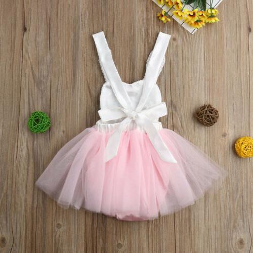 US Easter Baby Rabbit Romper Sundress Dress