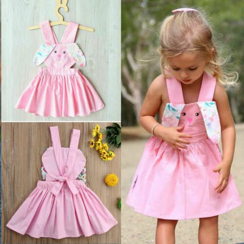 US Newborn Kid Girl Easter Bunny Dress Floral Sleeveless Str