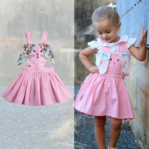 US Newborn Easter Bunny Dress Sleeveless Strap Sundress