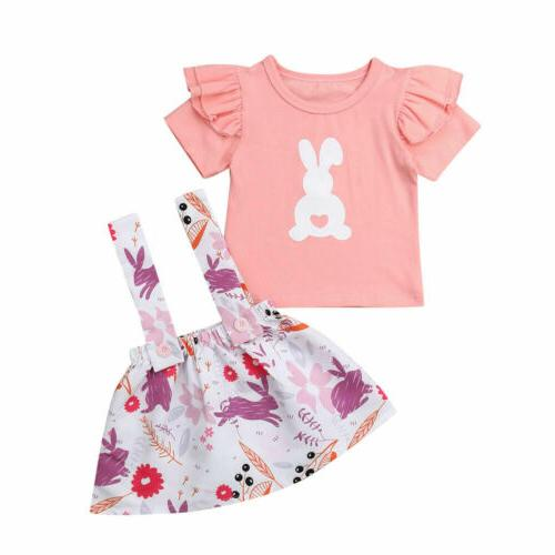 US2Pcs Newborn Girl Easter Clothes Top Outfits Set