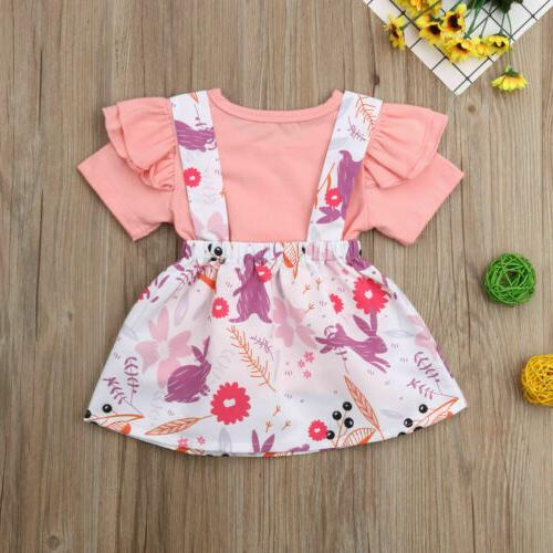 US2Pcs Girl Easter Dress Clothes Set