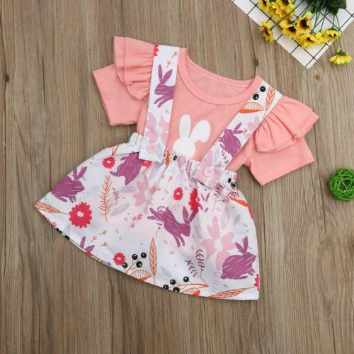 US2Pcs Newborn Baby Girl Easter Bunny Clothes Top Skirt Outfits Set