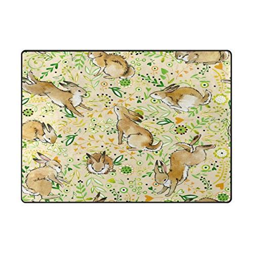 ALAZA Flower Bunny Easter Area Rugs Bedroom 7'