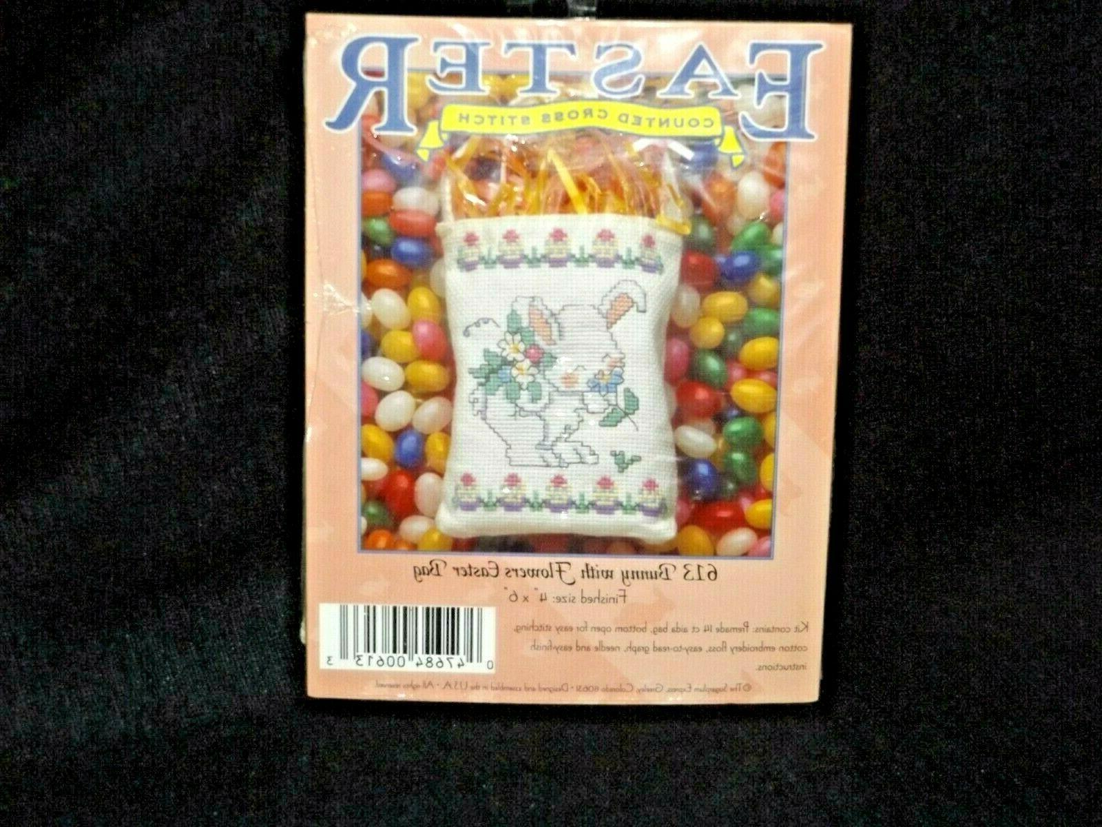 vintage sugarplum bunny smelling flowers easter mini