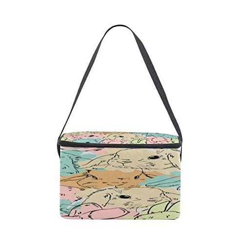 Use4 Watercolor Bunny Easter Lunch Tote for Picnic Women Men