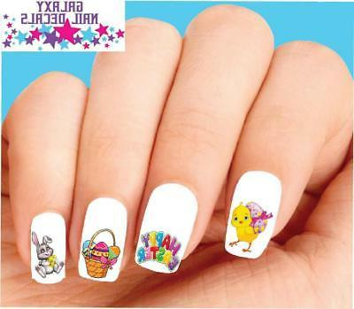 Waterslide Nail Decals - Set of 20 Happy Easter Bunny, Chick