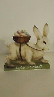 Bethany Lowe White Bunny With Egg Basket Large Dummy Board B