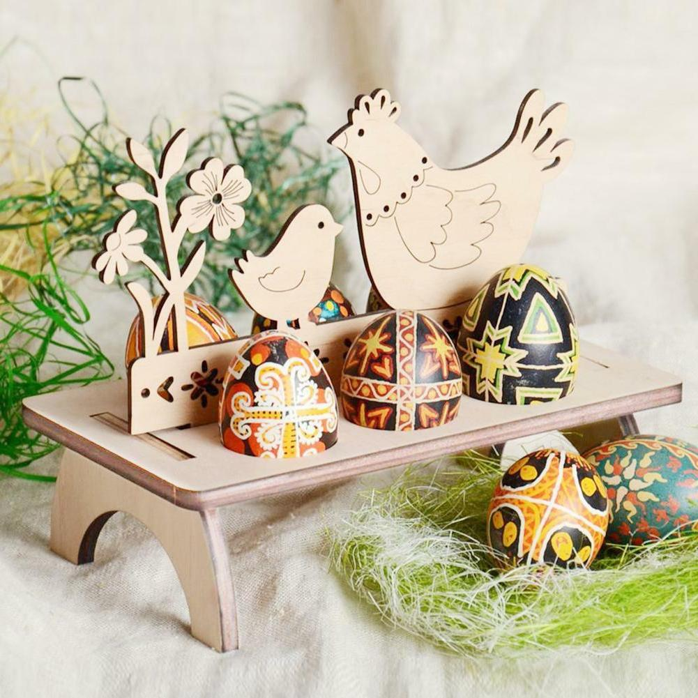 Wooden Stand Holder Chick Banny Easter Decoration