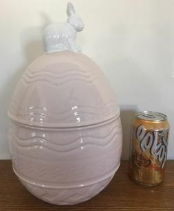 "Large 12"" Arlington Pink Easter Bunny Egg Canister Jar Cooki"