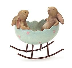 Laughing Bunny Rabbits Rocking in an Easter Egg Cradle Sprin