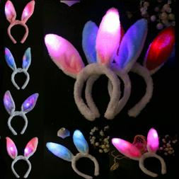 LED Light Up Easter Bunny Ears Plush Headband Festival Party
