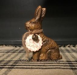 Lg. Faux Chocolate Easter Bunny Chocolate Rabbit Primitive B