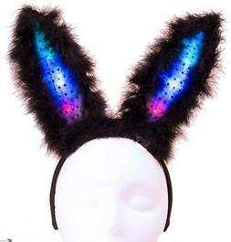 Light Up Flashing Easter Party Bunny Ears LED Headband, Blac