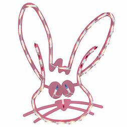 """18"""" Lighted Pink Bunny Head Easter Window Silhouette Decorat"""