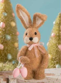 Bethany Lowe Little Miss Brown Easter Bunny Eggs Felted Figu