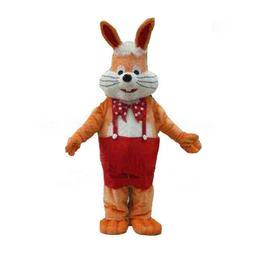 Long Fur Orange Red Easter Bunny Rabbit Cosplay Mascot Costu