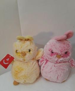 """Lot of 2 Aurora World Chicks stuffed  Plush - 7"""" pink and ye"""