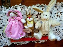 lot of 3 Bunny Rabbit Plush Dolls BOYDS BEAR/BESTEVER/ ANDRE