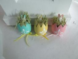 Lot of 3  Yellow Easter Bunny Rabbits Inside an Egg Ornament