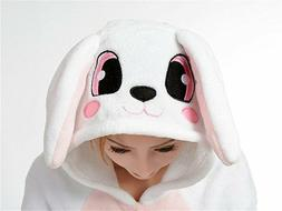 Lovely Bunny Costume Onesie8 Unisex Adult Cosplay Pajamas Ho