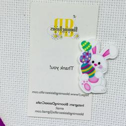 Magnetic Needle Minder Cross Stitch Easter Bunny w/Eggs / Fr