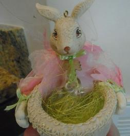 Mark Roberts Easter Bunny Ornament pink green beads basket R