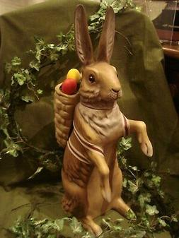 Marolin Paper Mache Easter Bunny Candy Container Brown w/Bas