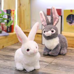 Mini Realistic Cute White Plush Rabbits Fur <font><b>Animal<