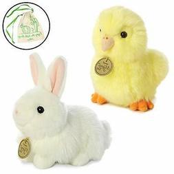 """Aurora Miyoni Easter Set 7"""" Angora White Bunny, Yellow Chick"""