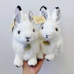 """Miyoni Aurora White Black Tip Ear Bunny Rabbit 10"""" Plush E"""