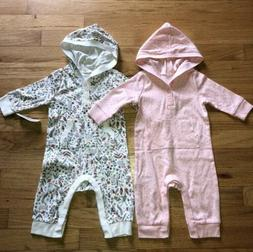 Old Navy New 2 Bunny Easter Button Up Hooded Rompers 3-6m