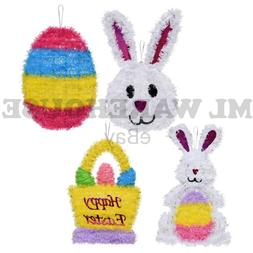 New 4 Pack Easter Tinsel Wall Hanging Decorations Bunny Bask