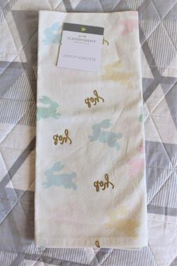 NEW Threshold Easter Bunny Pastel Gold Foil Kitchen Tea Towe