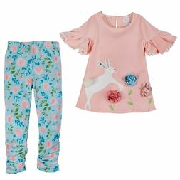 NEW Girl Easter Floral Pink Bunny Tunic & Legging Set 12/18M