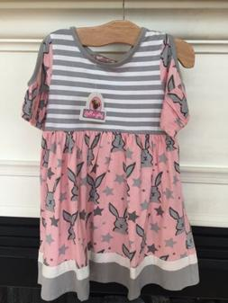 NEW NWT Jelly The Pug Dress sz 3 Pink Gray Striped Easter Bu