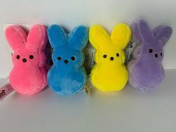 "NEW! SET of 4 PEEPS Easter Bunny 4"" Plush Backpack Clips Blu"
