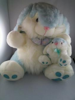 new vtg blue plush bunny mty international