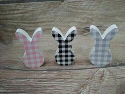 New Wood EASTER BUNNY Gingham Check BUFFALO PLAID TIERED TRA