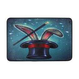 ALAZA 23.6x15.7 inch Non-Slip Polyester Doormat Easter Rabbi