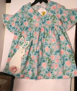 NWT Mud Pie Baby Girl Easter Bunny Dress Sz 4T