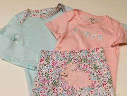 NWT Carter's Baby Girl Sweet Easter Bunny Floral 3 Piece Out