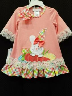 NWT Bonnie Jean Easter bunny dress lace peach bloomers 3-6 m