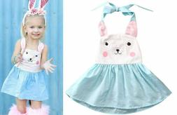 NWT Girls Easter Bunny Rabbit White Blue Sleeveless Dress 2T