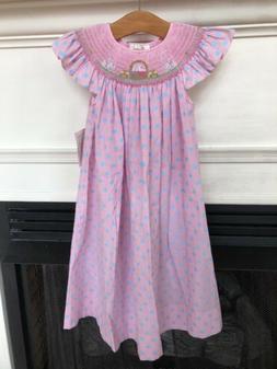 NWT Rosalina Smocked Easter Dress 6 Pink Blue Polkadot Bunny