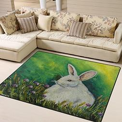 ALAZA Oil Painting Rabbit Bunny Easter Area Rug Rugs for Liv