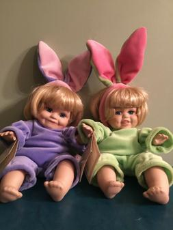 Pair Easter Bunny Dolls 10 inches porcelain face arms and le